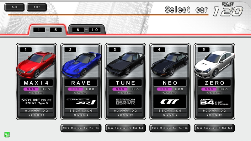 You Can Use The Top 5 Cars In Your List Races On Drive Machine Arcade Cabinet To From 6th Position And Lower Move Them